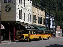The famous antique-replica tour buses of Skagway Street Car Company