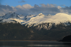 Evening light on the mountains at Haines, Alaska