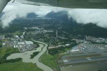 Aerial view of the Mendenhall Valley at Juneau, Alaska