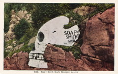 The rock painting known as Soapy Smith's Skull in Skagway in the late 1930s