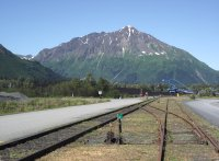 The southern end of the Alaska Railroad, at the dock in Seward, Alaska