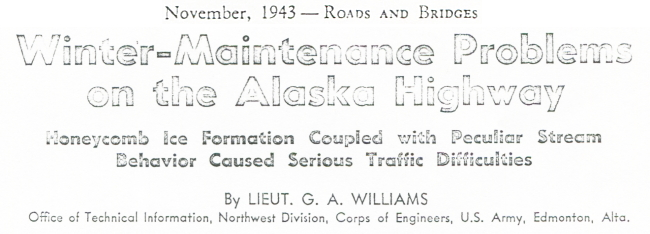 Winter Maintenance Problems on the Alaska Highway, November 1943