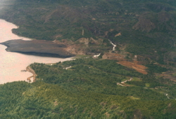 Aerial photo of Anyox, BC, in 1985