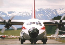 C-FNWY, an L-100-30 operated by Northwest Territorial Airways, at Smithers, BC, in 1985
