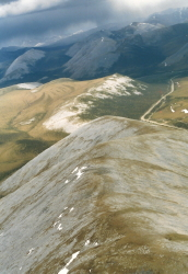 Aerial view of the Dempster Highway in 1985