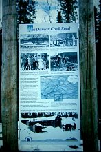 There are interpretive signs at some of the most important locations along the Silver Trail - this one describes the Duncan Creek Road. Photo by Murray Lundberg. Click to enlarge it.