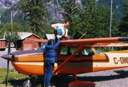 Fueling up my Cessna with car gas at Stewart, BC, in 1985
