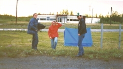 Tenting at the Northway, Alaska airport in heavy rain in 1985