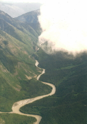 Aerial view of the upper Stikine River in BC
