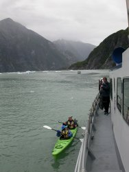 Kayakers in Tracy Arm, Alaska
