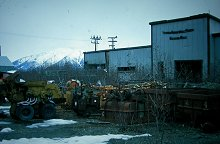 The former equipment yard of United Keno Hill Mines, in April 2002. Photo by Murray Lundberg. Click to enlarge it.