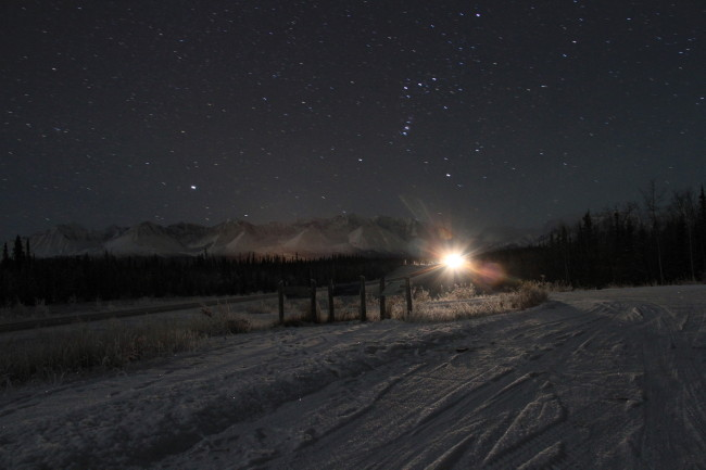 Kluane Range Rest Area, Yukon, on a winter night