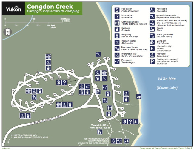 Map of Congdon Creek Campground, Yukon