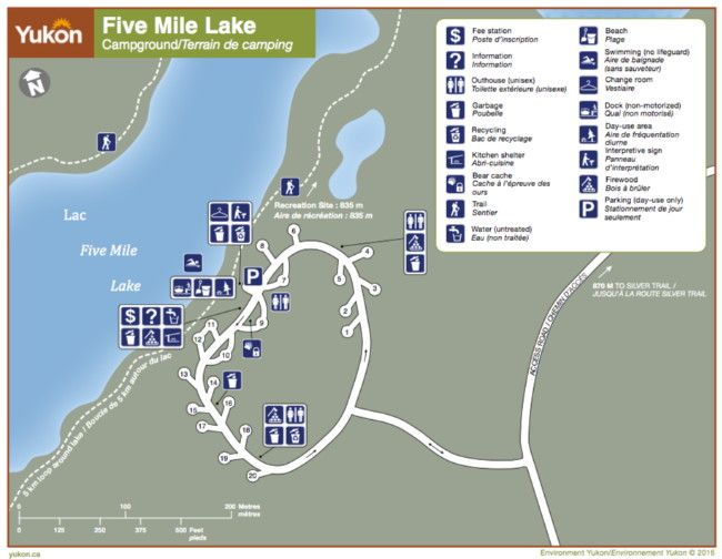 Map of Five Mile Lake Campground, Yukon