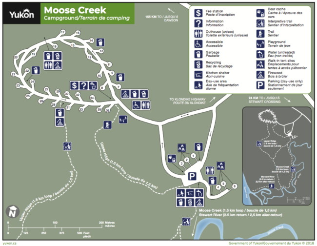 Map of Big Creek Campground, Yukon
