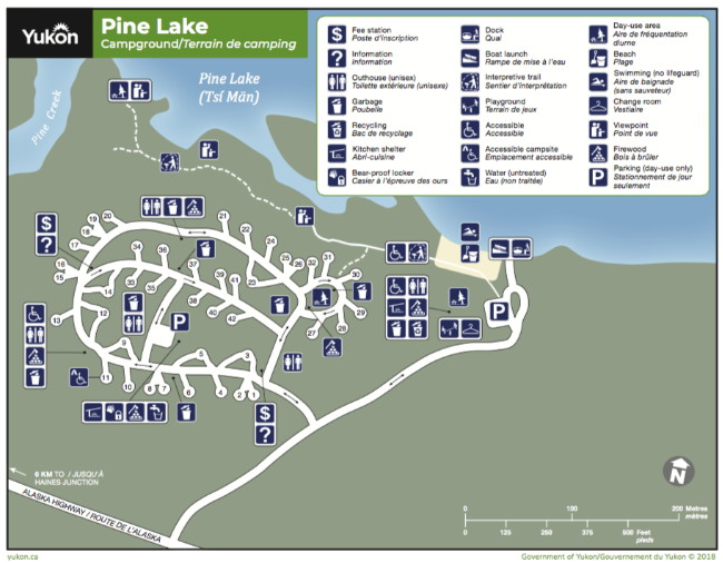 Map of Pine Lake Campground, Yukon