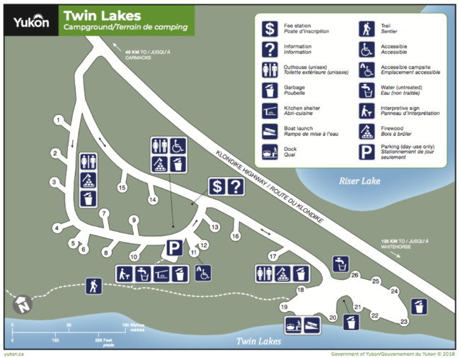 Map of Twin Lakes Campground, Yukon