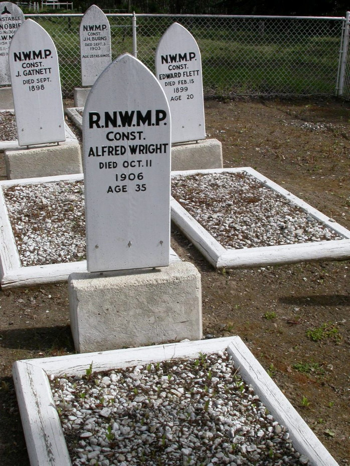 Headboard for RNWMP Const. Alfred Wright, in the RCMP Cemetery at Dawson City, Yukon