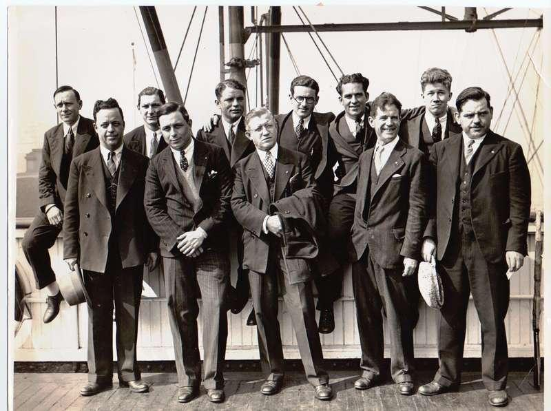 A press photo of the 11 crew members from the submarine Nautilus upon their return from a 
