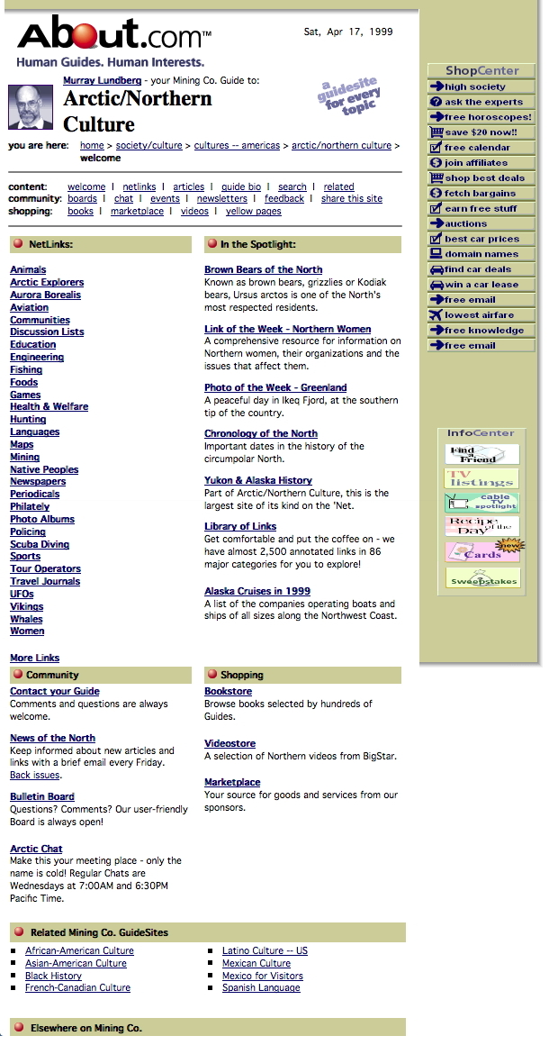 About.com's Arctic & Northern Culture site, 1999