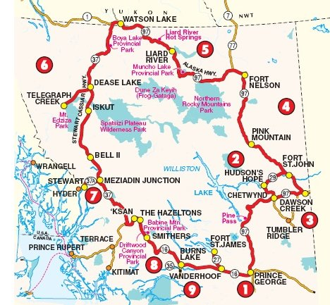 BC Great Northern Circle Route map