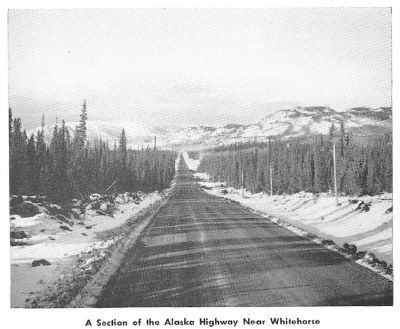 Alaska Highway near Whitehorse, 1950