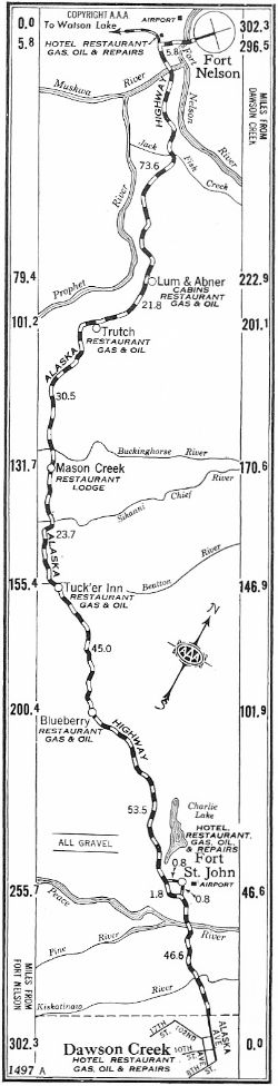 Strip Map #1 of Alaska Highway, 1950