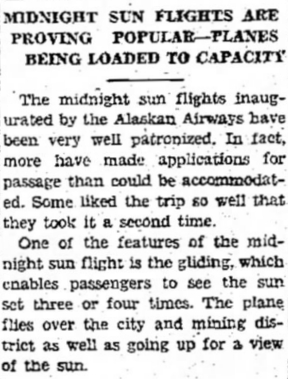 Alaskan Airways - Midnight Sun Flights, 1930
