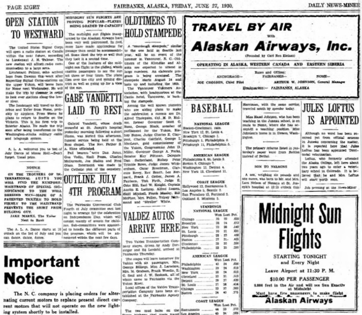 Alaskan Airways ads in the Fairbanks Daily News-Miner, 1930