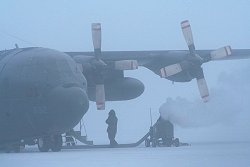 A C-130 Hercules in ice fog at Whitehorse, Yukon