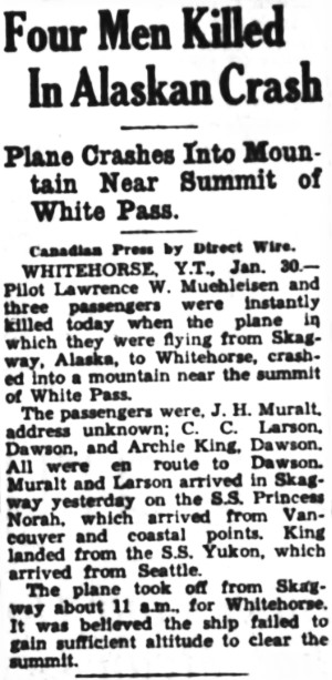 International Airways crash, White Pass, Alaska, 1935