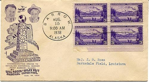 Envelope from 1938 flights to establish Post-Rogers memorial at Barrow, Alaska