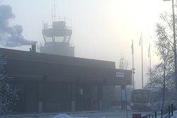 Ice fog at the Whitehorse airport terminal