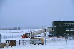 A new jetway gets installed at the Whitehorse, Yukon, airport