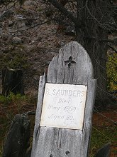 The grave of R. Saunders, who died in 1898 en route to the Klondike goldfields