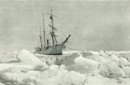 The Bear tied to ice anchors and surrounded by ice