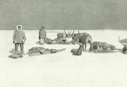 A few members of the train take a break on the ice