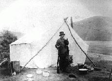 Mrs. Frances Gillis at a hunting camp near Dawson City, Yukon