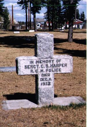 Headstone of Sergeant Charles Harper, RCMP, at Whitehorse Pioneer Cemetery