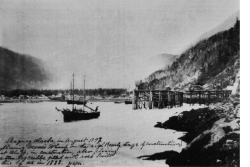 The east side of Skagway harbor and Moore Wharf in 1897
