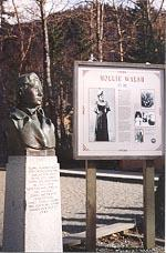 A statue of Mollie Walsh stands in a park in Skagway, Alaska
