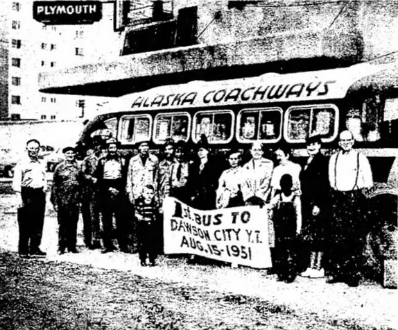 First bus to Dawson over the new Taylor Highway - an Alaska Coachways bus, in August 1951