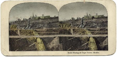 Historic stereoview - Gold mining at Cape Nome, Alaska
