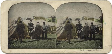 Historic stereoview - Eskimos at Nome, Alaska
