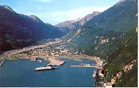 An aerial photo of Skagway, Alaska, in the early 1970s.