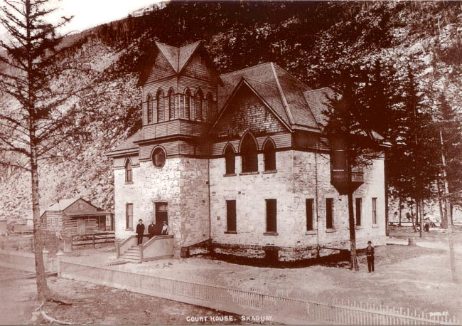 A historic photo of what is now the museum at Skagway, Alaska