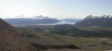 A panorama shot from the Caribou Mountain Trail near Carcross