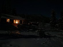 Carcross cabin by moonlight