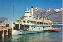 A historic postcard showing the sternwheeler Tutshi in the 1950s