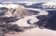 Aerial view of Carcross, Yukon - Lake Bennett in the foreground